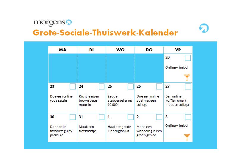 grote sociale thuiswerk kalender
