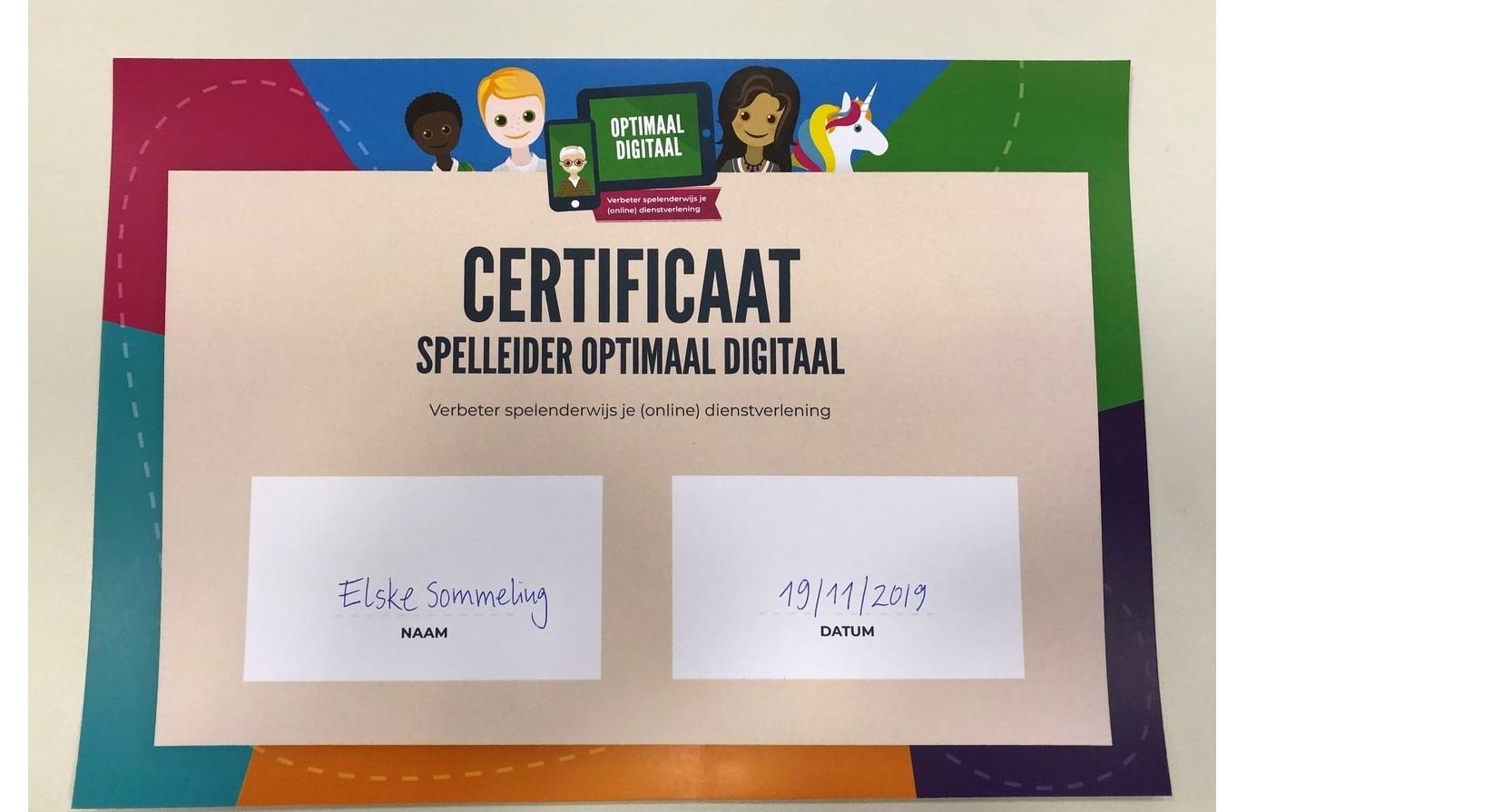 Certificaat Spelleider Optimaal Digitaal